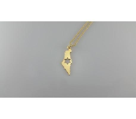 שרשרת גולדפילד זהב 24 קראט ארץ ישראל עם כוכב