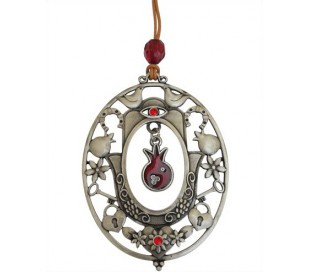 Hamsa pendant oval design and pomegranate