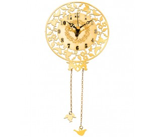 שעון עגול בעיצוב יונים ורימונים