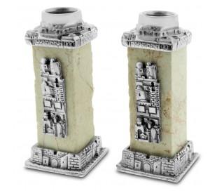 זוג פמוטים מרובעים מאבן ירושלים