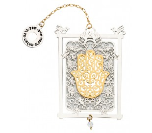 wall hanging Hamsa  lace within a frame