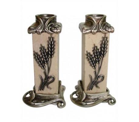 Square stone wheat candlesticks