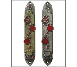 Red Pomegranates Mezuzah
