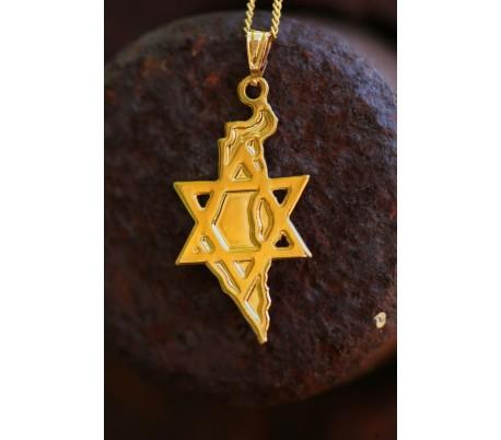 שרשרת גולדפילד 24 קראט מגן דוד שומר על ארץ ישראל